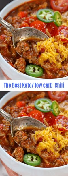 The Best Keto/Low carb Chili – Tasty Recipes Keto Chili Recipe, Chili Recipes, Veggie Recipes, Soup Recipes, Healthy Recipes, Keto Recipes, Healthy Soups, Lunch Recipes, Crockpot Recipes