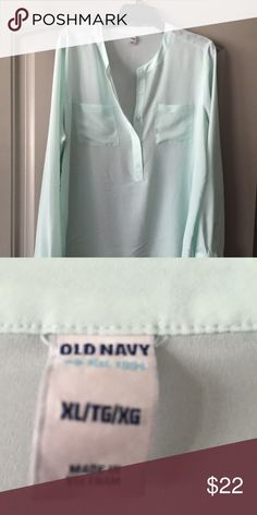 Light Aqua Old Navy sheer top (long sleeves) Light Aqua Old Navy sheer top (long sleeves) Old Navy Tops Blouses