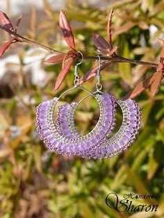 Sharon.handmade / Levanduľová čipka Levander bead embroidery earrings, hoops with lace, bead lace, handmade earrings