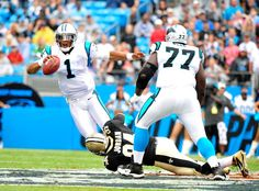 Cameron Jordan #94 of the New Orleans Saints sacks quarterback Cam Newton #1 of the Carolina Panthers during play at Bank of America Stadium on September 16, 2012 in Charlotte, North Carolina. (Photo by Grant Halverson/Getty Images)