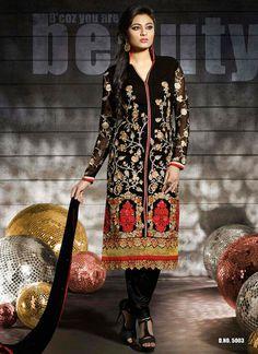 Stunning Black Georgette Churidar Salwar Suit Product Code :14342 shop now http://www.sareesaga.com/stunning-black-georgette-churidar-salwar-suit-14342  Email : support@sareesaga.com What's App or Call : +91-9825192886