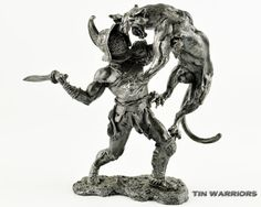 Rome. Gladiators Bestiary 1st century BC. Metal sculpture. Collection 75mm 1:23 miniature figurine. Tin toy soldiers shop
