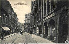 Breslau. Taschen Strasse (Piotra Skargi, po prawej IX LO, widok w stronę Oławskiej) 1900-1910. IX LO w budynku zwanym kiedyś 'Kanonenhoff, który powstał w miejscu dawnej odlewni m.in. dział.