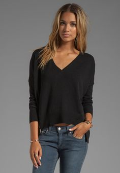 fa485216d613 Shop for Autumn Cashmere Hi Lo V Neck Pullover With Zippers in Black at  REVOLVE.