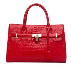 Sweet Elegant Lock Embellished Zipper Red PU Shoulder Bag