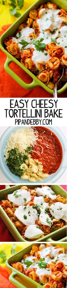 Easy Cheesy Tortellini Bake Recipe - this dinner is super easy and a total family-pleaser!