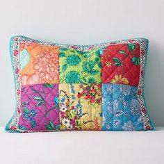 Neela Polka Dot and Floral Print Quilt Monogram Towels, Monogram Shop, The Company Store, Floral Border, Cotton Quilts, Hand Quilting, Decorative Pillow Covers, Botanical Prints, Vibrant Colors