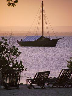 Sun setting over Pemba, Mozambique