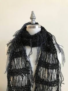 Ready To Ship Hand Knitted Black Winter Scarf Sparkle Scarf Swan Scarf Galaxy Scarf Fringe Scarf Steampunk Christmas Present CatDKnits Gifts For Women, Gifts For Her, Gold Gift Boxes, Hand Knit Scarf, Crochet Collar, Black Sparkle, Fringe Scarf, Lace Knitting, Top Pattern