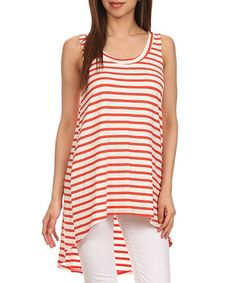 Look what I found on #zulily! Coral & White Modal-Blend Stripe Hi-Low Tunic - Plus #zulilyfinds
