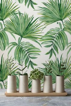 Transform any room in your home into a tropical paradise with this self-adhesive vinyl EXOTIC LEAVES HAND DRAWN pattern removable wallpaper!