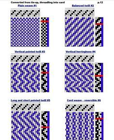 Tablet Weaving Patterns, Scrap Quilt Patterns, Weaving Designs, Loom Knitting Patterns, Weaving Projects, Knitting Tutorials, Free Knitting, Stitch Patterns, Card Weaving