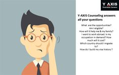Y-AXIS Counseling answers all your questions. What  are the opportunities? Am I eligible?  How will it help me & my family? I want to work abroad. Is my occupation in demand? How much will it cost? Which country should I migrate to?  How do I build my visa history ?