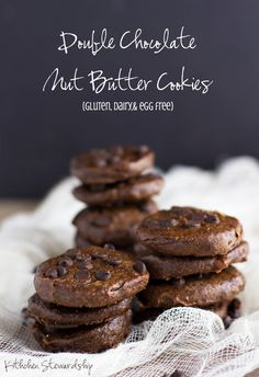 Double Chocolate Nut Butter Cookies. A healthier take on cookies, these have nut butter for protein, are mostly date sweetened, and are free of gluten, dairy, and eggs.