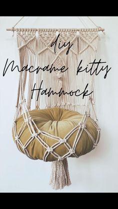 Macrame Design, Macrame Art, Macrame Projects, Diy Projects, Macrame Supplies, Macrame Plant Hanger Patterns, Macrame Wall Hanging Patterns, Macrame Patterns, Diy Cat Hammock