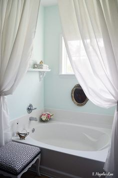 *** The use of curtains vs shower curtain*** Spa-like bathroom in aqua and grey | 11 Magnolia Lane