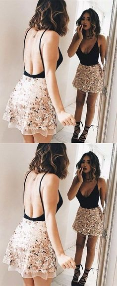 sexy backless party dresses,black short homecoming dress,unique sequnis prom dresses,spaghetti starp stain dress