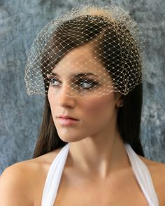 """Trista"" Champagne Birdcage Veil - Ellen Marie Champagne Veil ... able to add clips, etc. to veil"