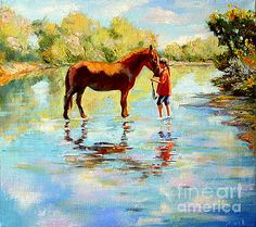 I stand up a little bit in the clouds by Fedosenko Roman #placard #poster #print #picture #horse #woman #River #impressionism #interior #scene