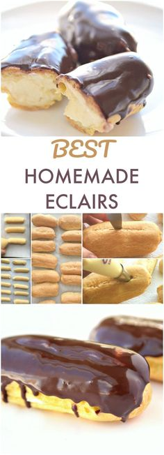 Chocolate Eclair Are you looking for chocolate dessert recipes? Try these out of this world delicious French Eclairs with chocolate glaze. Step-by-step tutorial plus video is included. It is one of the best French dessert recipes of all times. French Dessert Recipes, Mini Desserts, Easy Desserts, French Fancy Recipes, The Best Dessert Recipes, French Deserts, Delicious Recipes, Chocolate Eclair Recipe, Chocolate Recipes