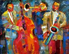 Jazz Abstract Art oil painting by Debra Hurd, painting by artist Debra Hurd via dailypainters.com