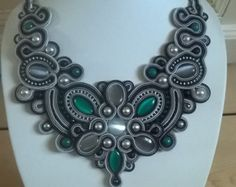 Grey soutache necklace with cat eye cabochon
