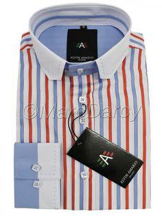 Mens Designer Multi Coloured Striped Orange Shirt (J4)