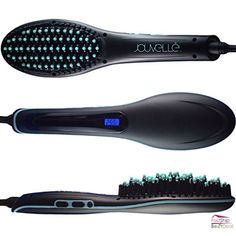 Professional Ceramic Hair Straightener Brush Black Electric Comb LCD Beauty Care #JouvellUSA