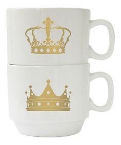 Look what I found on #zulily! Gold Crown Couples Mug Set #zulilyfinds