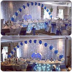 #nicheevents #bride #balloons #bridetobe #brideideas #bridalinspirations #chaircoversandbows #centerpeices #balloonarch #bluetheme #instalike #lights #pretty #weddings #gettingmarried #instapic #instawed #instagood #instamood #instadaily #instawedding #ca