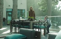 The Mustique Aluminum Armchair and the Parsons Dining Table as seen on the set of Big Little Lies