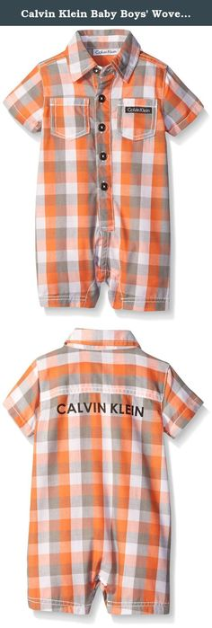 Calvin Klein Baby Boys' Woven Plaid Poplin Romper, Orange, 18 Months. Calvin Klein baby boys plaided romper with two front pockets.