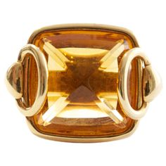 Hermes Citrine Gold Buckle Ring | From a unique collection of vintage more rings at https://www.1stdibs.com/jewelry/rings/more-rings/