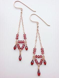 14k Rose Gold Garnet Earrings, Chandelier Earrings, January Birthstone Earrings, Birthstone Jewelry, Bohemian Chic, Handmade Gifts
