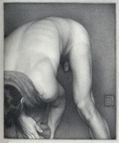 Michael Leonard, Bather Stooping Low, 2003, graphite pencil on paper, 8 x 6 5/8 inchesnt, 2008, alkyd-oil on masonite, 25 x 21 1/2 inches