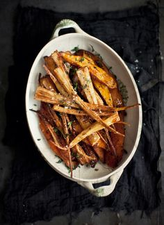 Roasted Sweet Potatoes and Parsnips with Nutmeg, Garlic and Honey by What Katie Ate