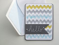 A simple chevron card (+free patterned papers) blogged here: melstampz.blogspot.ca/2015/04/another-simple-hello-card-t...