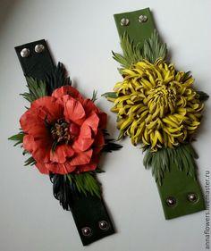 Купить Браслеты из кожи с цветами - коралловый, Браслет ручной работы, браслет с цветами, браслет из кожи