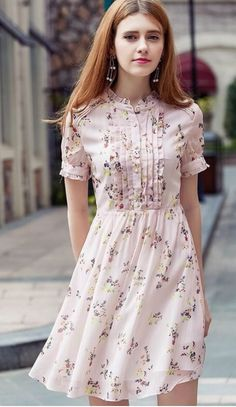 Detail: crew neck with ruffle trim, pearl buttons, front ruffles detailing, short-sleeved with ruffles on cuffs, hidden side zipper Fabric Stylish Dresses, Simple Dresses, Pretty Dresses, Casual Dresses, Short Dresses, Summer Dresses, Stylish Outfits, Frock Fashion, Fashion Dresses
