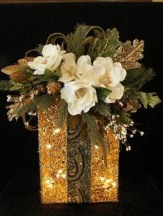 Elegant Christmas Decorations .com- Lighted Glitter Boxes I love this! I have some lighted boxes that could use a make over!                                                                                                                                                     More