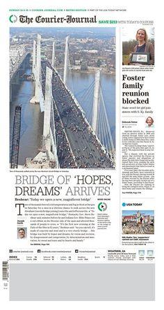 """Bridge of 'Hopes Dreams' Arrives"" Louisville Courier-Journal A1 designed by Jeff Morris. (12.06.15) #newsdesign"