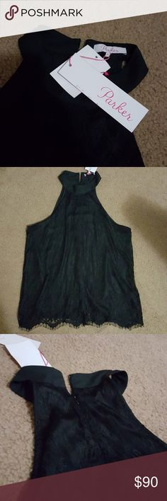 ⚡CLOSET CLEAROUT⚡Parker Black Lace Halter Top Brand new with tags. Medium size. Parker Tops Blouses
