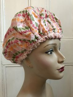 fe92566330a 1960s Vinyl Shower Cap with Satin Lining