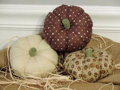 Fabric Pumpkins Stuffed Fall Decorations Autumn Decor Thanksgiving Neutral Beige Pumpkin Brown
