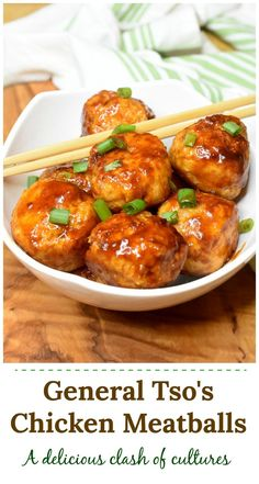 General Tso's Chicken Meatballs one of my favorites! General Tso's Chicken Meatballs one of my favor Chicken Meatball Recipes, Ground Chicken Recipes, Healthy Chicken Meatballs, Ground Chicken Meatballs, Appetizer Recipes, Dinner Recipes, Appetizers, Dinner Ideas, General Tao Chicken