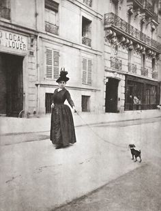 Woman with dog, Paris, 1890