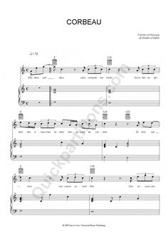 Corbeau Piano Sheet Music - Coeur de pirate