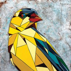 East Urban Home 'American Goldfinch' by DAAS Graphic Art on Wrapped Canvas Size: Canvas Artwork, Canvas Art Prints, Origami, Goldfinch, Geometric Art, Geometric Drawing, Geometric Painting, Mural Art, Street Artists