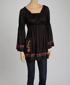 Love this Black Floral Smocked Peasant Tunic by Avani Del Amour on #zulily! #zulilyfinds