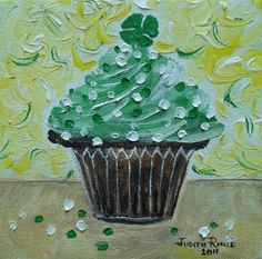 Oil painting kids One Very Lucky Cupcake 5x5 inch by jujuru, $28.00